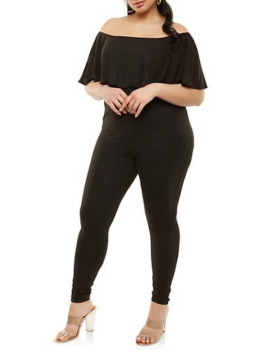 Plus Size Soft Knit Off the Shoulder Jumpsuit,BLACK,large