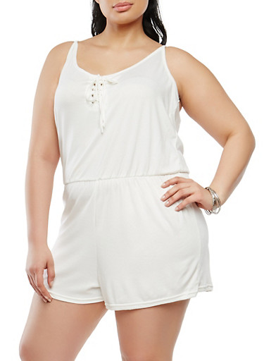Plus Size Lace Up Romper | Tuggl