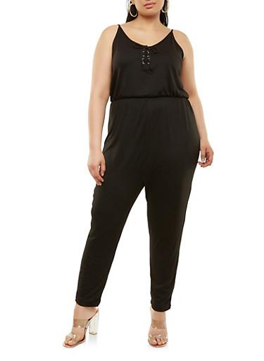 Plus Size Soft Knit Lace Up Jumpsuit,BLACK,large