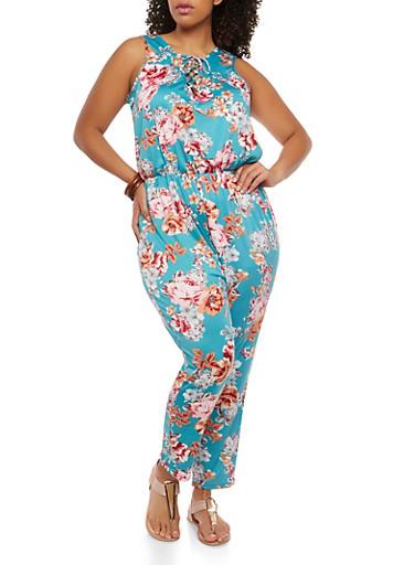 Plus Size Floral Cinched Waist Jumpsuit,TEAL,large