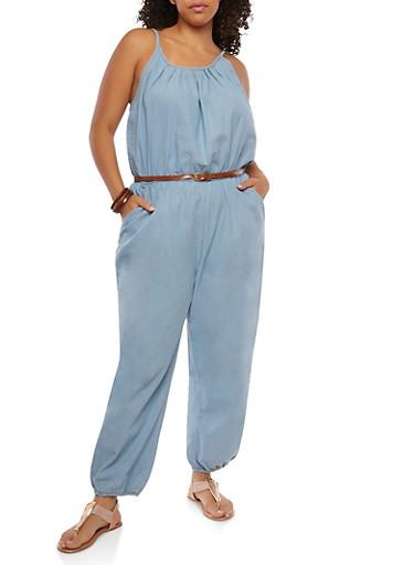 Plus Size Belted Denim Jumpsuit,LIGHT WASH,large