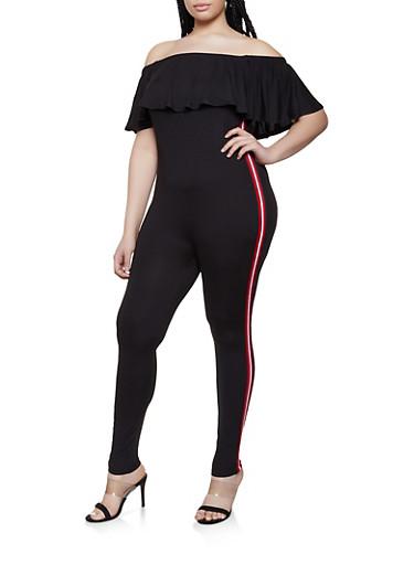 Plus Size Off the Shoulder Ruffle Jumpsuit,BLACK,large