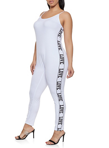 Plus Size Love Graphic Catsuit,WHITE,large