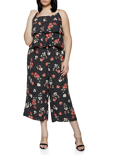 Plus Size Tiered Ruffle Printed Jumpsuit,BLACK,large