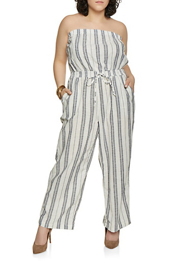 Plus Size Striped Linen Palazzo Jumpsuit,NAVY,large