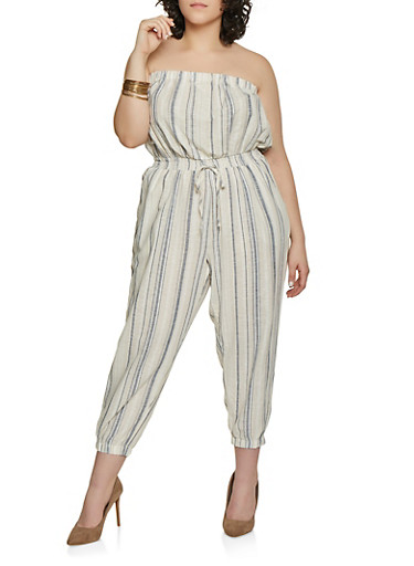 Plus Size Striped Linen Capri Jumpsuit,IVORY,large