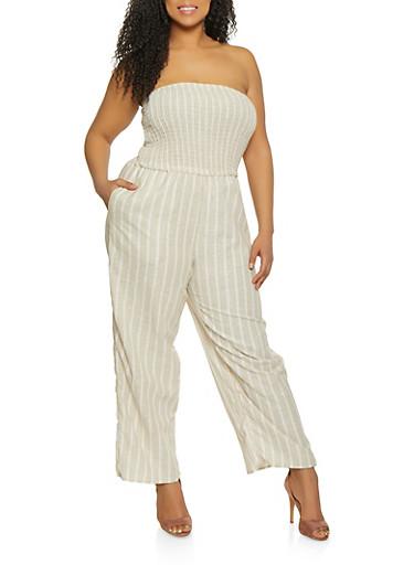 Plus Size Strapless Linen Jumpsuit,KHAKI,large