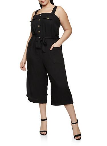 Plus Size Tie Waist Jumpsuit,BLACK,large