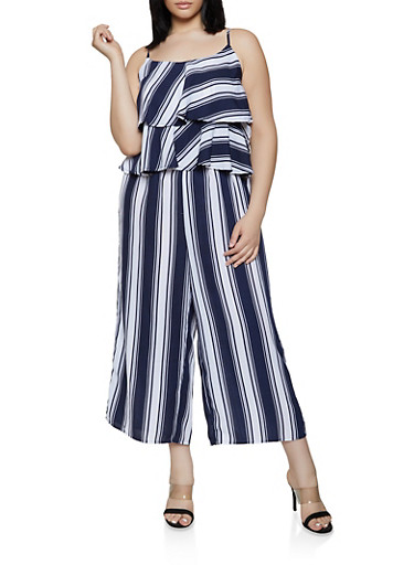 Plus Size Striped Tiered Ruffle Jumpsuit,NAVY,large