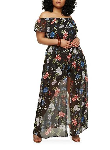 Plus Size Floral Maxi Romper,BLACK,large