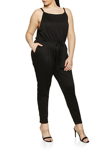 Plus Size French Terry Lined Jumpsuit,BLACK,large