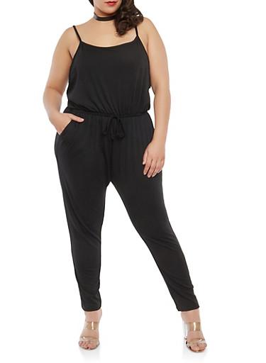 Plus Size Low Cut Side Jumpsuit,BLACK,large