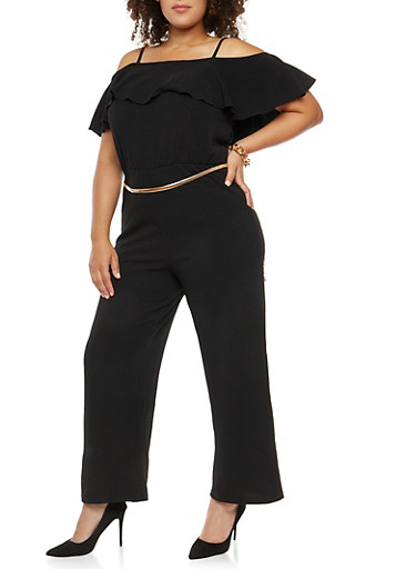 Plus Size Crepe Knit Cold Shoulder Jumpsuit,BLACK,large