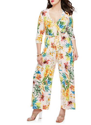 Plus Size Floral Faux Wrap Jumpsuit with Sleeves,IVORY,large