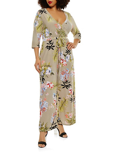 Plus Size Faux Wrap Floral Jumpsuit with Sleeves | Tuggl