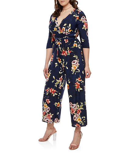 Plus Size Floral Faux Wrap Jumpsuit with Sleeves,NAVY,large