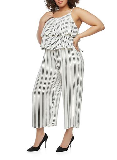 Plus Size Striped Crepe Knit Jumpsuit,IVORY,large