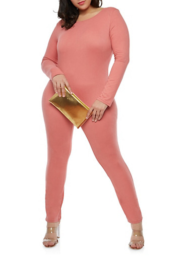 Plus Size Long Sleeve Catsuit,MAUVE,large