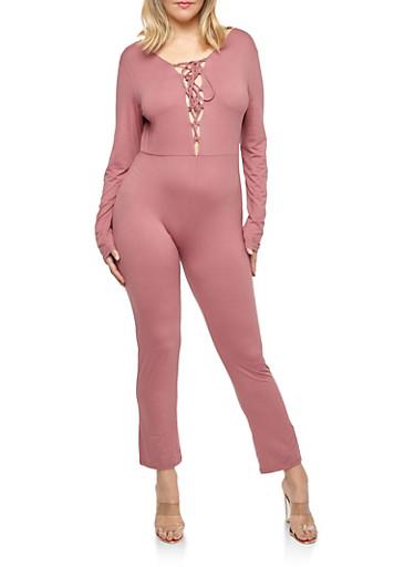 Plus Size Lace Up Soft Knit Jumpsuit,MAUVE,large