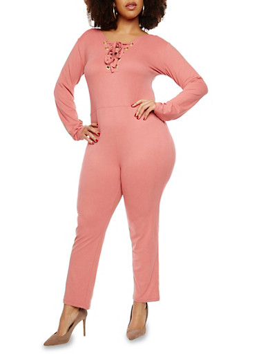 Plus Size Soft Knit Lace Up Front Jumpsuit,MAUVE,large