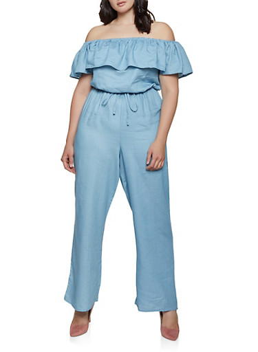 Plus Size Ruffle Off the Shoulder Jumpsuit,BLUE,large