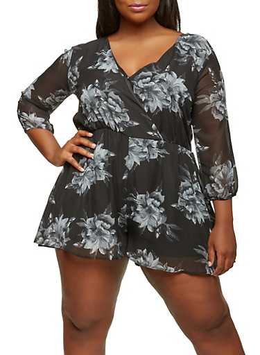Plus Size Floral Romper with Sleeves,BLACK,large