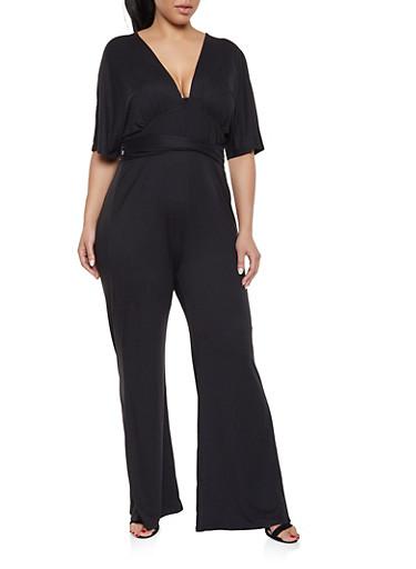Plus Size V Neck Jumpsuit,BLACK,large