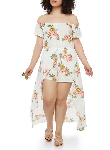 Plus Size Floral Maxi Romper,WHITE,large