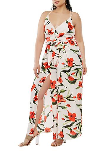Plus Size Floral Jumpsuit,IVORY,large