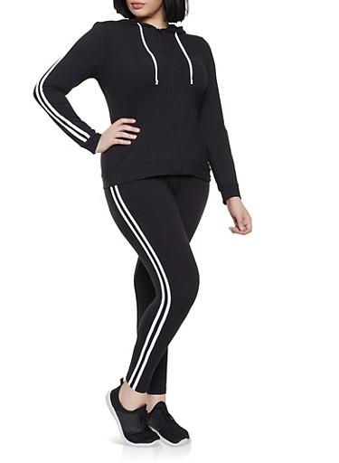 Plus Size Varsity Stripe Zip Front Sweatshirt and Leggings Set,BLACK/WHITE,large