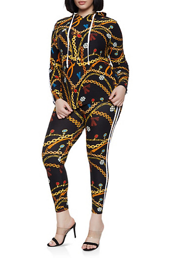 Plus Size Chain Print Hooded Top and Leggings Set,BLACK,large