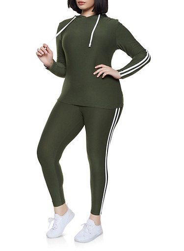 Plus Size Hooded Varsity Stripe Top and Leggings Set,OLIVE,large