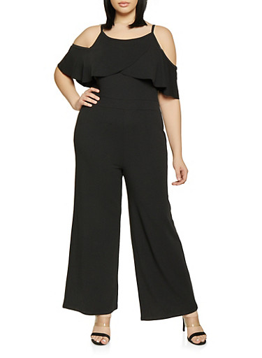 Plus Size Textured Knit Off the Shoulder Jumpsuit,BLACK,large