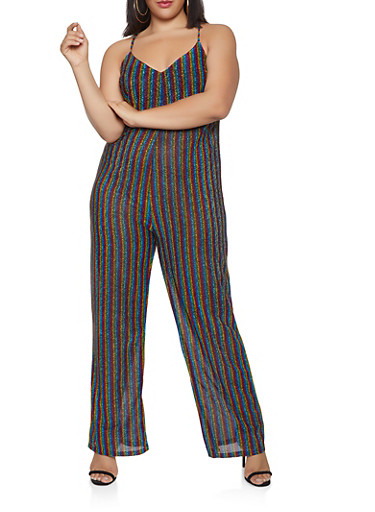 Plus Size Striped Shimmer Knit Jumpsuit,MULTI COLOR,large