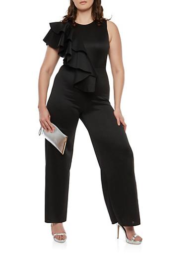 Plus Size Asymmetrical Ruffle Jumpsuit,BLACK,large