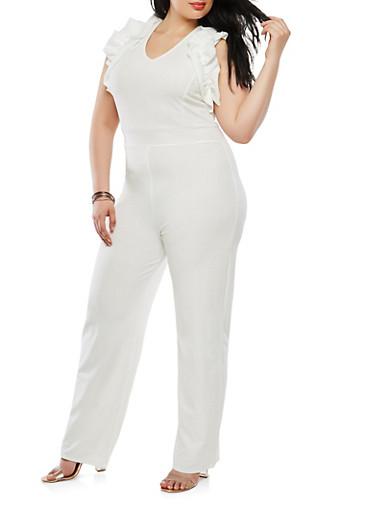 Plus Size Ruffle Trim Jumpsuit,WHITE,large