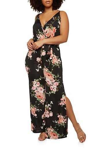 Plus Size Faux Wrap Floral Jumpsuit,BLACK,large