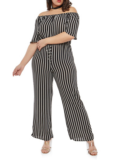 Plus Size Off the Shoulder Striped Jumpsuit | Tuggl