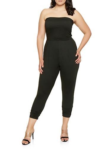 Plus Size Ruched Tube Jumpsuit,BLACK,large