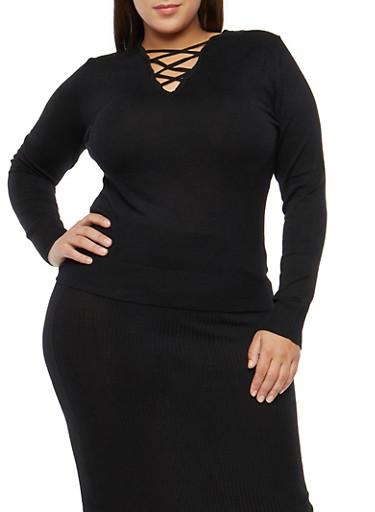 Plus Size Caged Neck Sweater,BLACK,large