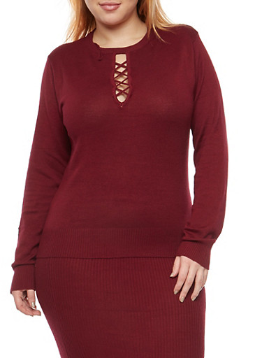 Plus Size Caged Keyhole Neck Sweater,WINE,large
