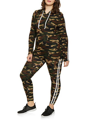 Plus Size Hooded Camo Top and Leggings Set,OLIVE,large