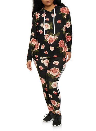 Plus Size Floral Hooded Top and Leggings Set,BLACK,large