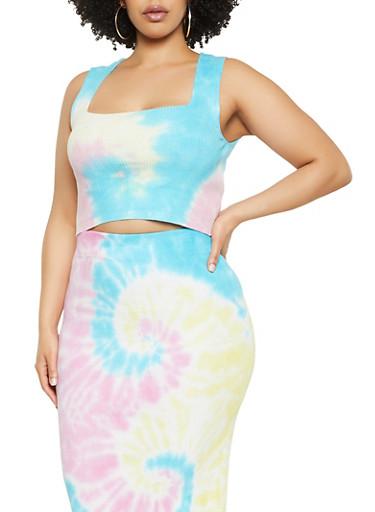 Plus Size Tie Dye Print Crop Top,MULTI COLOR,large