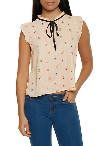 Floral Striped Blouse,PINK,large