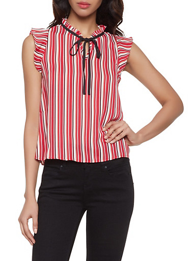 Striped Tie Neck Blouse,RED,large