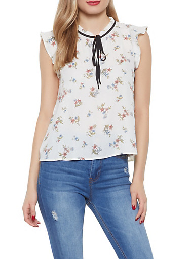 Floral Tie Neck Blouse,IVORY,large