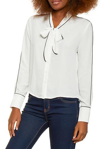 Tie Neck Button Front Blouse,WHT-BLK,large