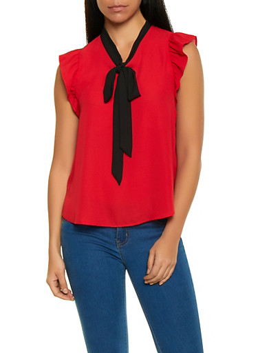 Flutter Sleeve Tie Neck Blouse,RED,large