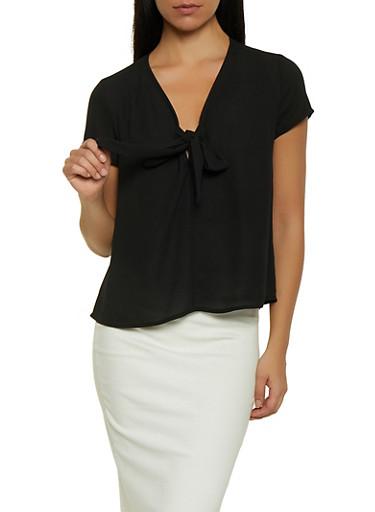 Tie Front Blouse,BLACK,large